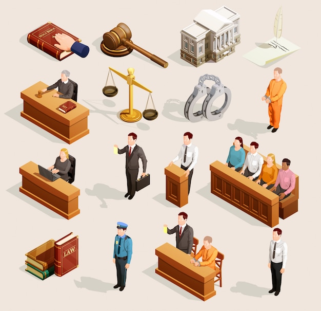 Jury court elements collection Gratis Vector