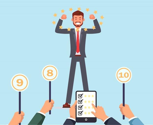 Jury geeft succes aan werknemer toptekens. recruteren. Premium Vector