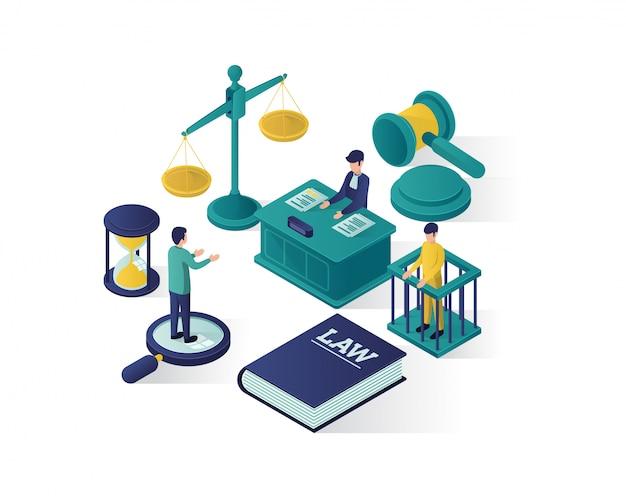Justitie en recht isometrische illustratie, advocatenkantoor isometrische illustratie. Premium Vector