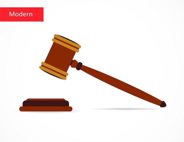 Justitie hamer veiling pictogram vlakke stijl Premium Vector