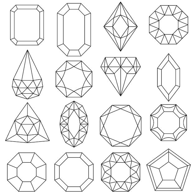 Juwelen set, edelstenen en diamanten, luxe iconen geïsoleerd, schetsontwerp. Premium Vector