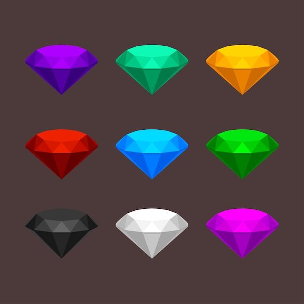 Juwelen stenen set Premium Vector