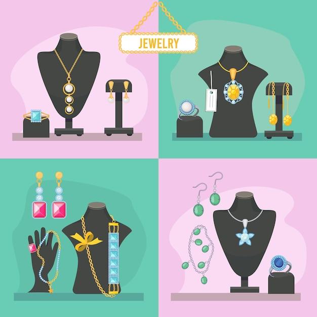 Juwelier. schoonheidsproducten voor vrouwen dure edelstenen diamanten armbanden kostbare hangers glamour bruid accessoires foto's Premium Vector