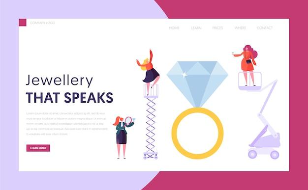 Juwelierverkoper houdt diamanten bestemmingspagina vast. vrouwelijk personage koop ring bij gemstone shop. sieradenindustrie concept website of webpagina. luxe bruiloft symbool platte cartoon vectorillustratie Premium Vector