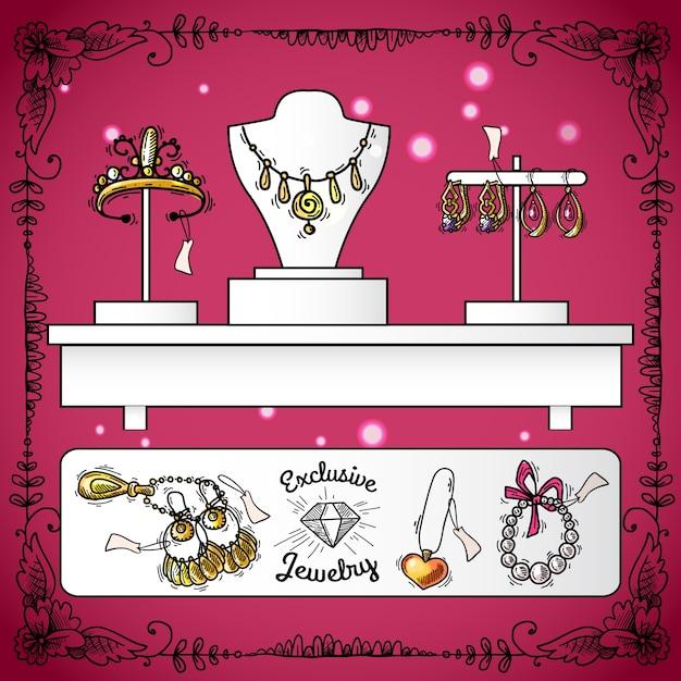 Juweliewinkelvertoning Gratis Vector