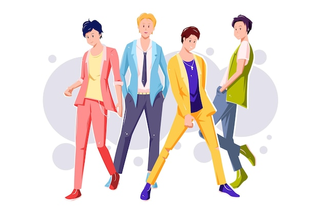 K-pop boy group illustratie Gratis Vector
