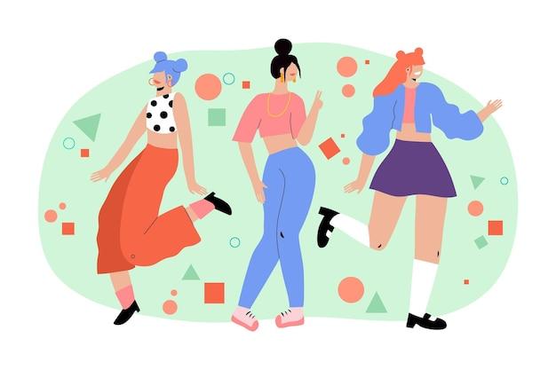 K-pop meidengroep illustratie Gratis Vector