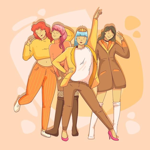 K-pop meidengroep Gratis Vector