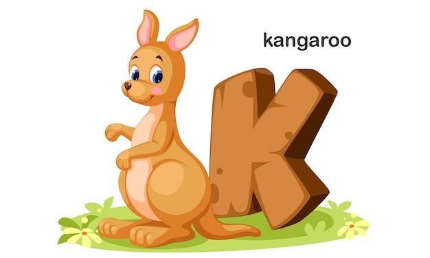 K voor kangaroo Premium Vector