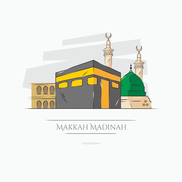 Kaaba mekka en medina-illustratie Premium Vector