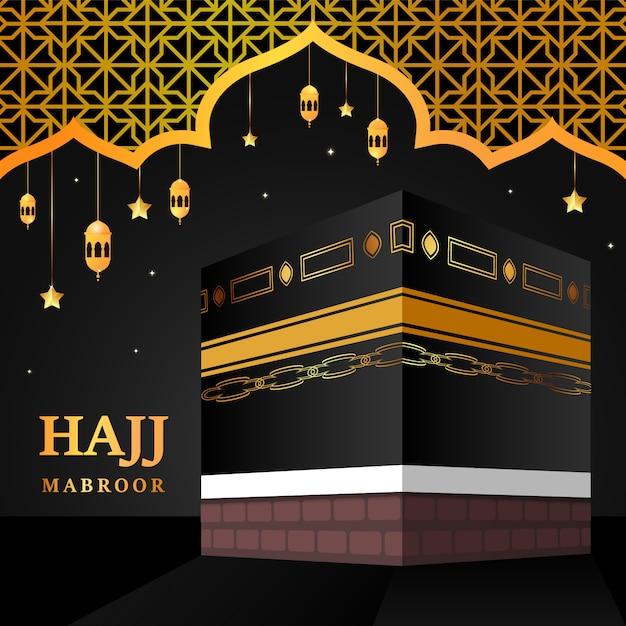 Kaaba voor hadj mabroor in mekka saoedi-arabië. bedevaart stapt van begin tot einde arafat mountain voor eid adha mubarak. islamitische achtergrond. hadj ritueel. Premium Vector
