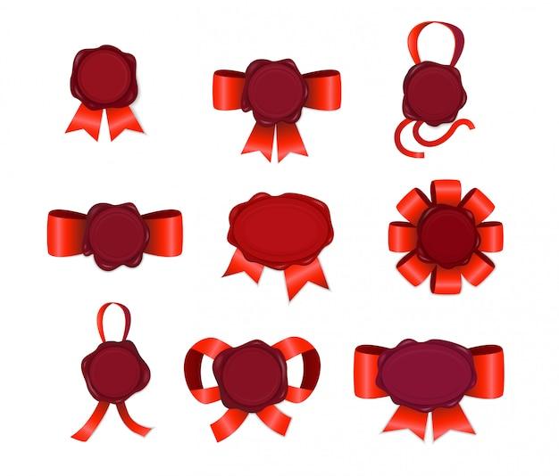 Kaars stempel met rode linten set Gratis Vector
