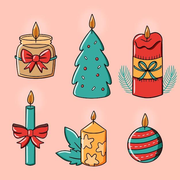 Kaarsen met schattig ontwerp en linten hand getrokken Gratis Vector