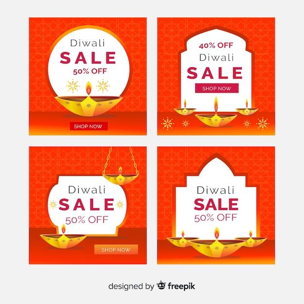Kaarsen van diwali-evenement voor postverzameling Gratis Vector