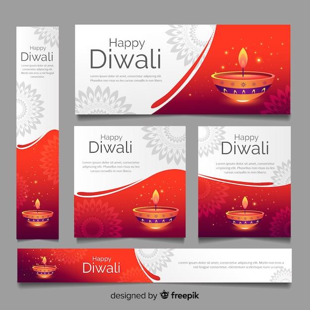 Kaarsen van diwali webbanners sjabloon Gratis Vector
