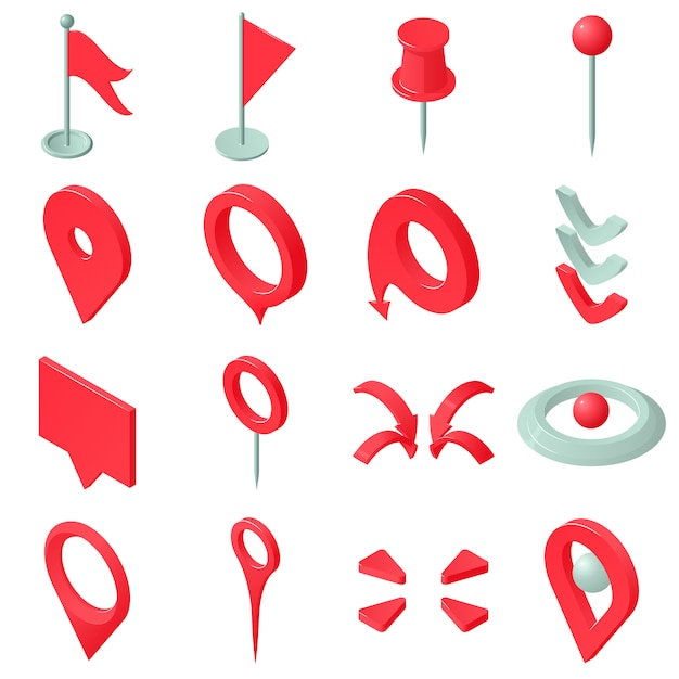 Kaart aanwijzer pictogrammen instellen. isometrische illustratie van 16 kaart aanwijzer vector iconen voor web Premium Vector