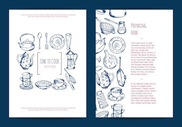 Kaart, flyer of brochure sjabloon voor keuken accessoires winkel of kooklessen met hand getrokken keukengerei Premium Vector