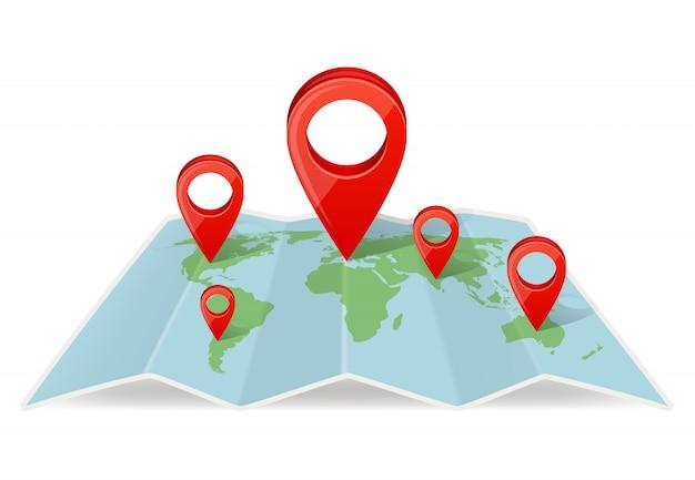 Kaart met aanwijzernavigaties. navigatie concept foto met realistische kaartaanwijzer Premium Vector
