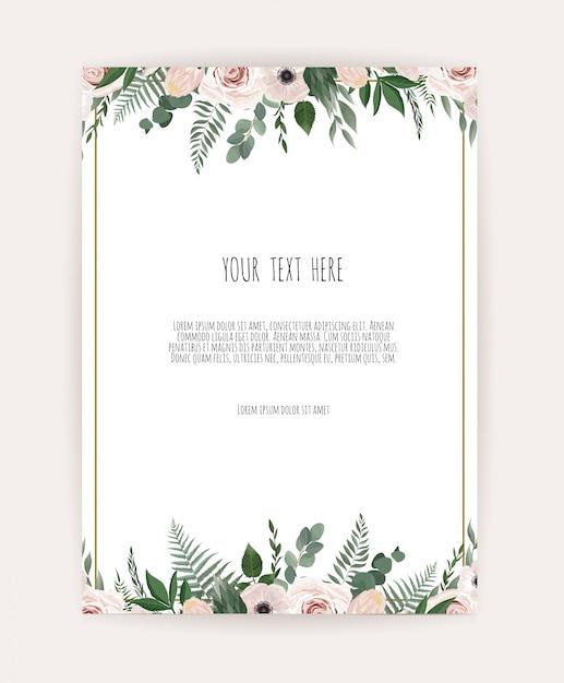 Kaart met bloem roos Premium Vector