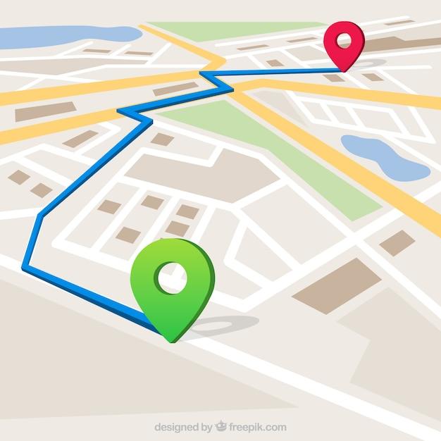 Kaart met gemarkeerde route Gratis Vector