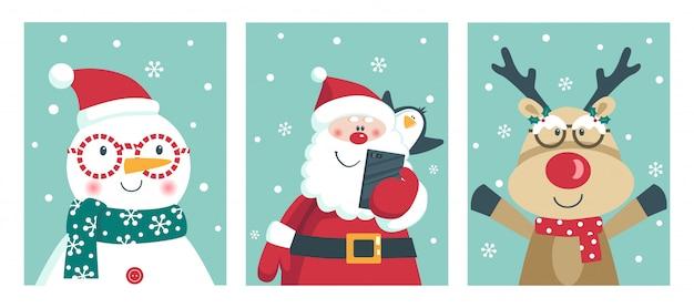 Kaart met santa, pinguïn, herten en sneeuwpop winnen bril. Premium Vector