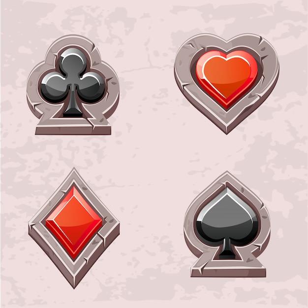 Kaart pak, poker pictogrammen steen textuur Premium Vector