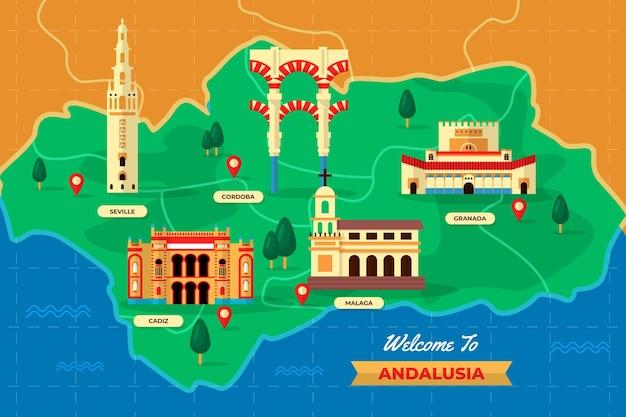 Kaart van andalusië met bezienswaardigheden Gratis Vector