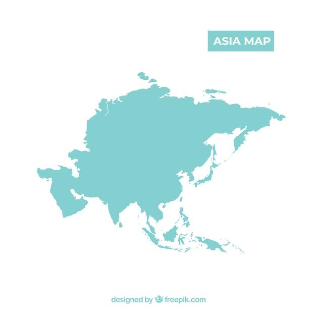 Kaart van azië in vlakke stijl Gratis Vector
