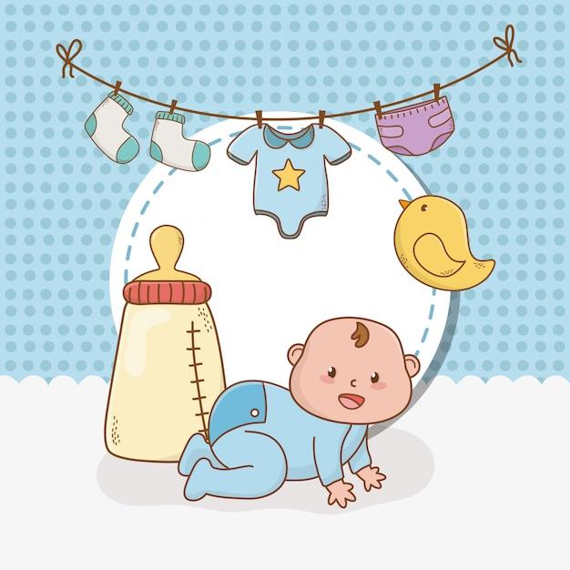 Kaart van de baby douche met kleine jongen baby Premium Vector
