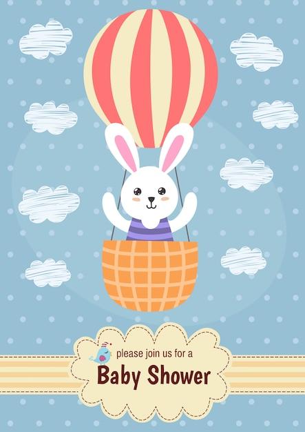 Kaart van de babydouche met een schattig konijn dat op ballon vliegt Premium Vector
