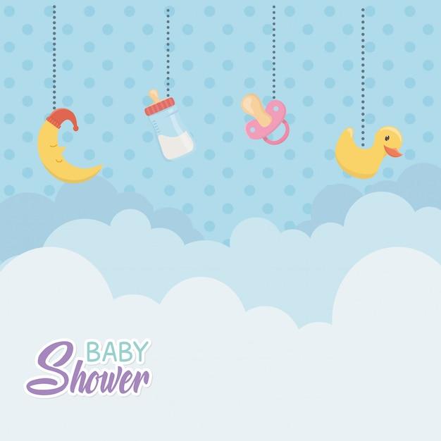 Kaart van de babydouche met hangende toebehoren Gratis Vector
