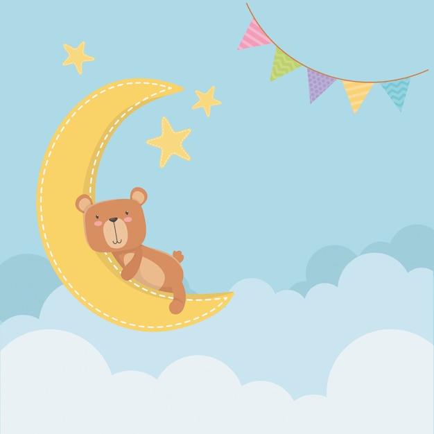 Kaart van de babydouche met kleine beer in maan slepping Gratis Vector