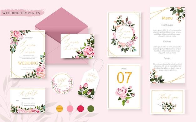 Kaart van de de lijstmenu van de huwelijks bloeit de bloemen gouden sparen het het ontwerp van de datum rsvp lijst met roze bloemenrozen en groene bladerenkroon en frame. botanische elegante decoratieve vector sjabloon in aquarel stijl Gratis Vector