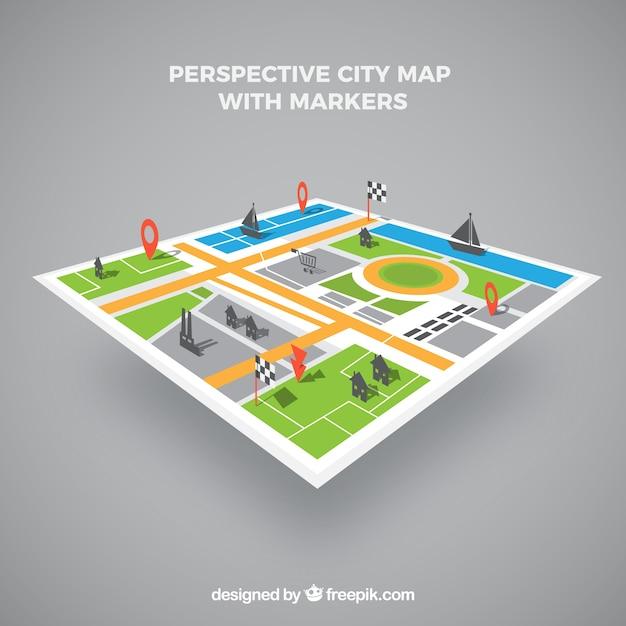 Kaart van de stad in perspectief met markers Gratis Vector