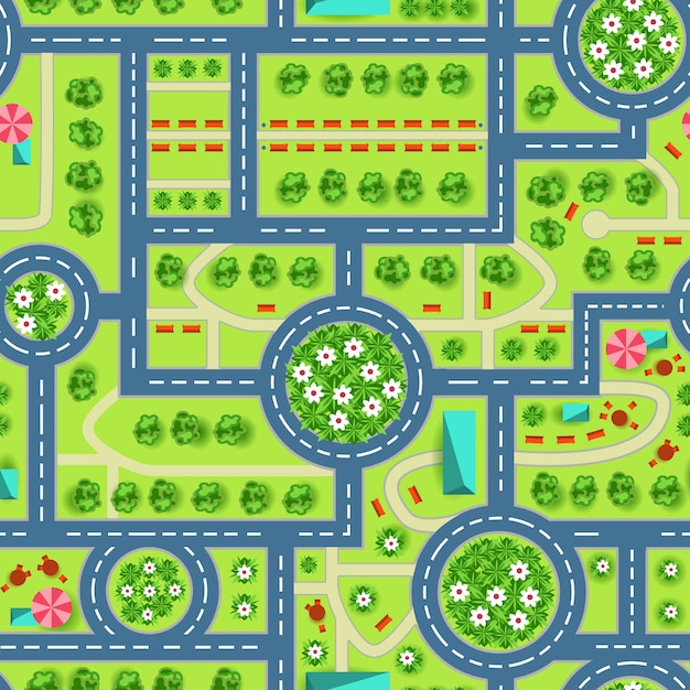 Kaart van een bovenaanzicht van de stad Gratis Vector