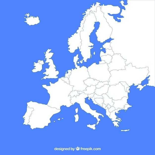 Kaart van europa met kleuren in vlakke stijl Gratis Vector