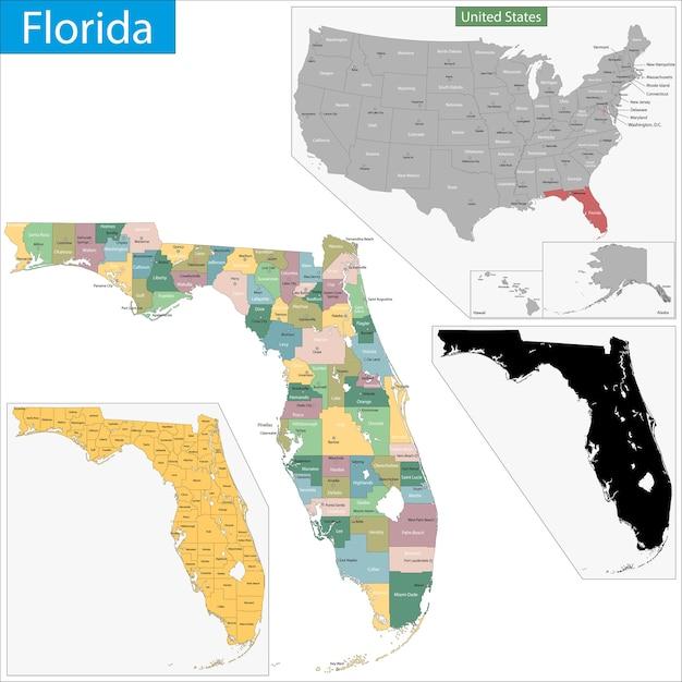 Kaart van florida Premium Vector