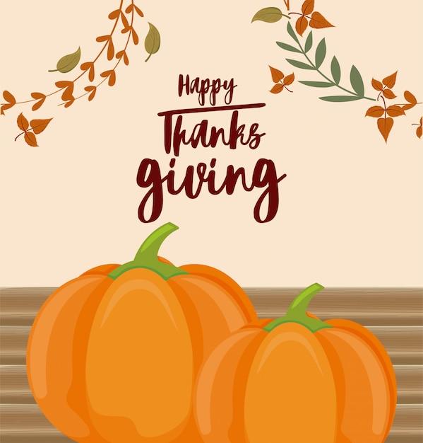 Kaart van gelukkige thanksgiving en pompoenen Premium Vector
