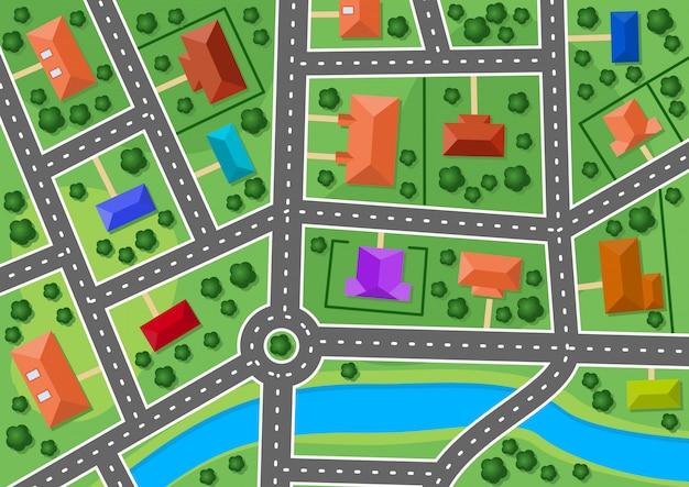 Kaart van kleine stad of voorstad dorp Premium Vector