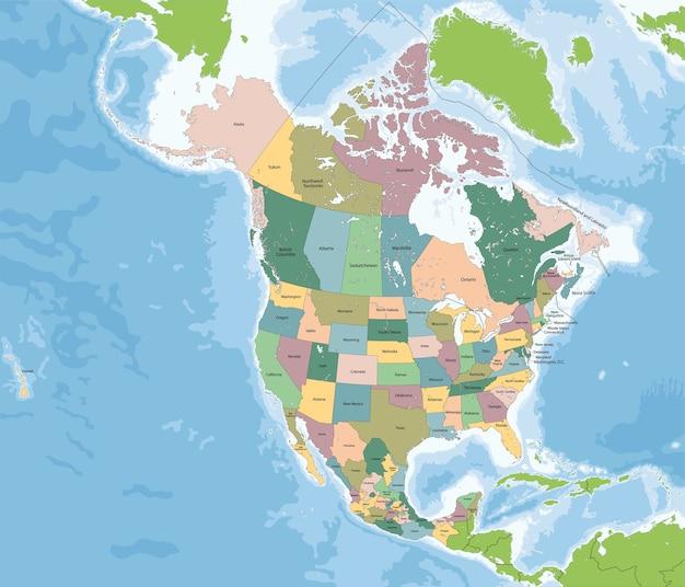 Kaart van noord-amerika met de vs, canada en mexico Premium Vector