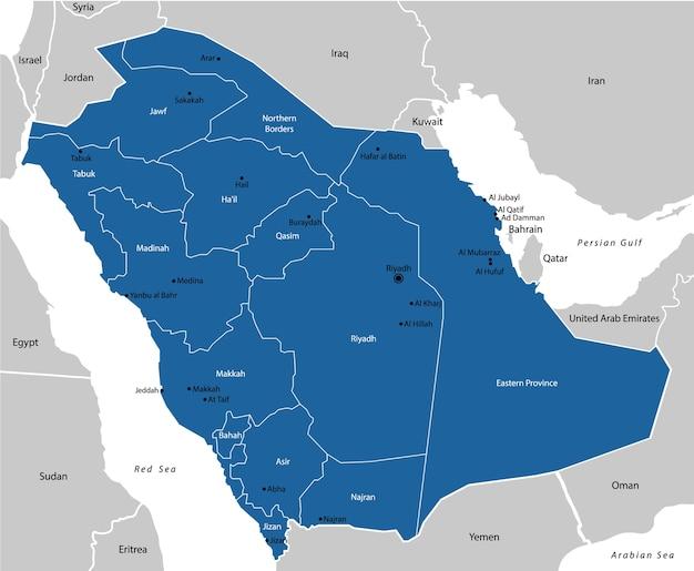 Kaart van saoedi-arabië Premium Vector