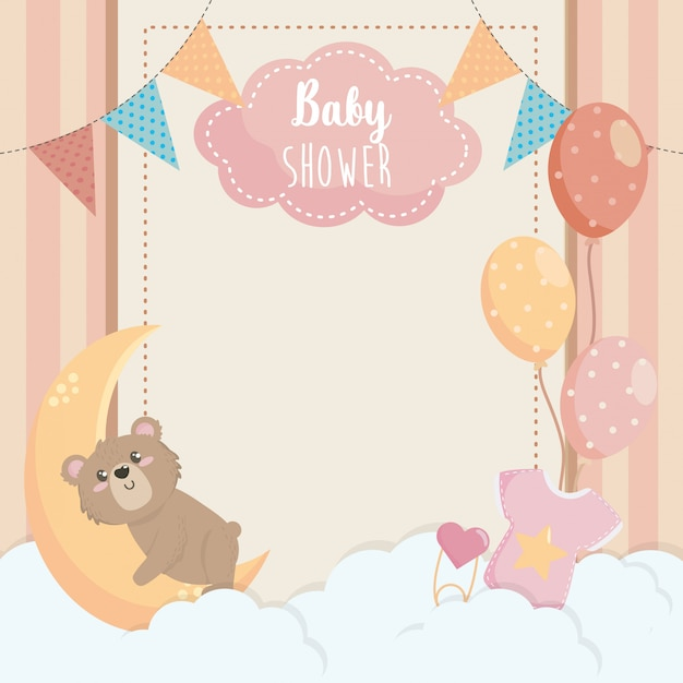 Kaart van schattige beer met label en ballonnen Gratis Vector