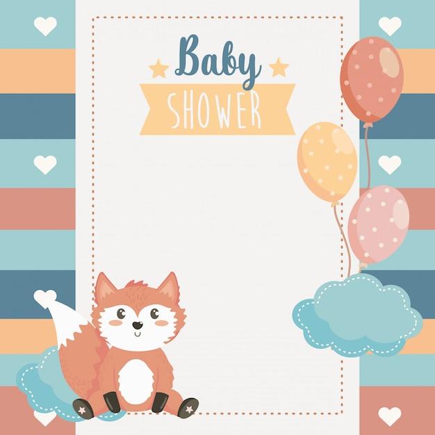 Kaart van schattige fox dier met ballonnen en wolk Gratis Vector
