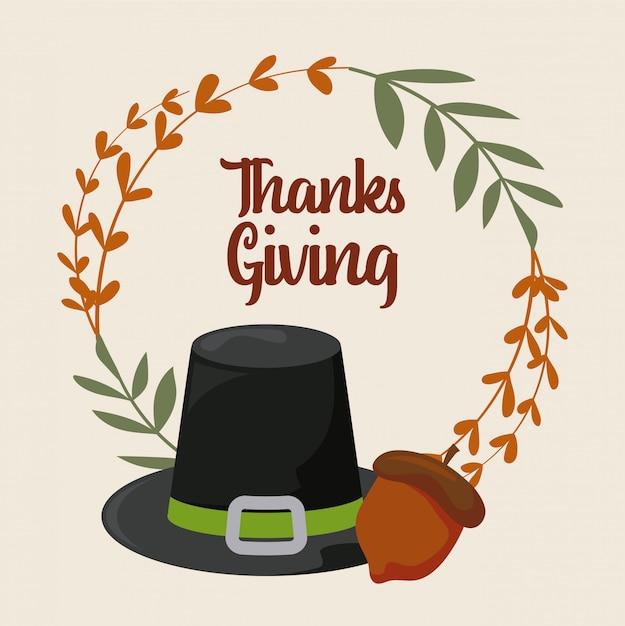 Kaart van thanksgiving day Premium Vector