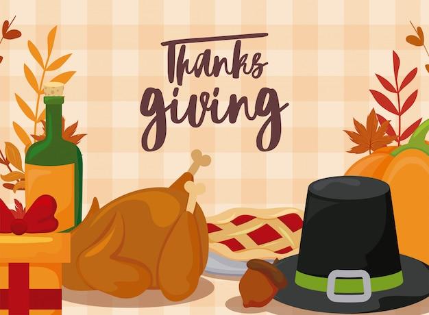 Kaart van thanksgiving en eten Premium Vector