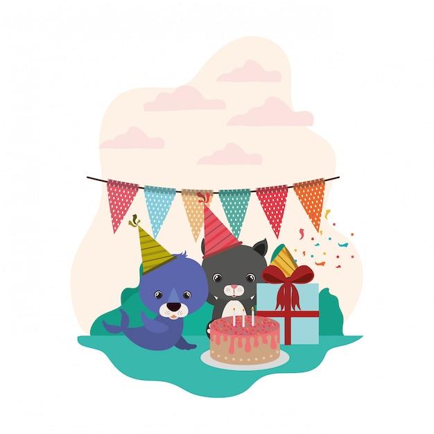 Kaart van viering met dieren Premium Vector