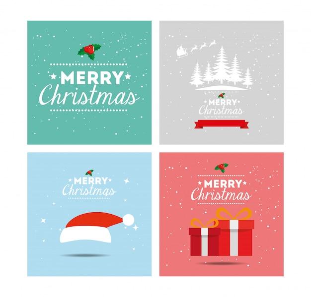 Kaart van vrolijk kerstfeest en decoratie instellen Gratis Vector