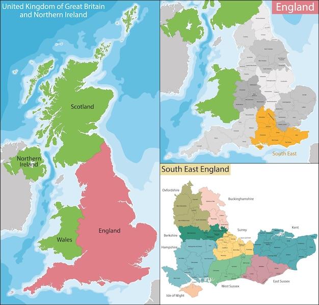 Kaart Van Zuidoost Engeland Premium Vector