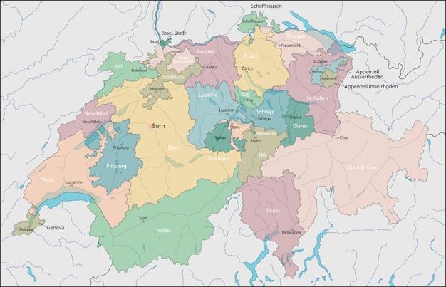 Kaart van zwitserland Premium Vector