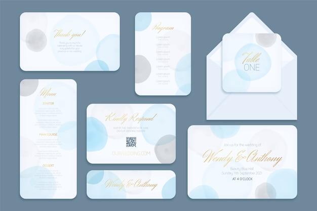 Kaarten en enveloppen bruiloft briefpapier sjabloon Gratis Vector